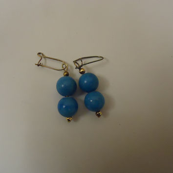 Designer Fashion Earrings Drop/Dangle Metal Female Adult Gold/Blue -- Preowned