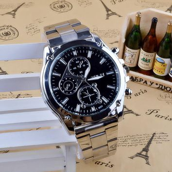 Men Casual Sports Quartz Stainless Steel Watch