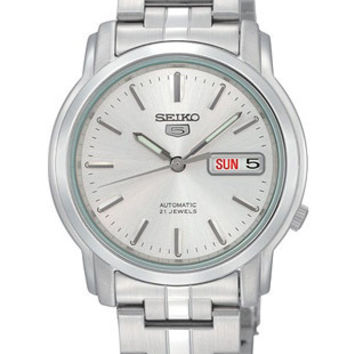 Seiko 5 Automatic Mens Watch - Silver Dial - Steel Case & Bracelet - Day/Date