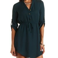 Mandarin Collared Chiffon Shirt Dress - Hunter Green