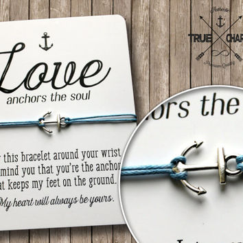 Love Anchors the Soul Bracelet - Forever Love Bracelet - Romantic Gift - Marine Bracelet - Sideways Anchor Bracelet - Love Bracelet