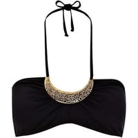Black necklace embellished bikini top