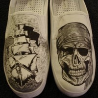 Pirate Ship and Pirate Skull Tattoo Inspired Custom by inkwear99