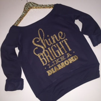 Shine Bright Like A Diamond - Ruffles with Love - Off the Shoulder Sweatshirt - Womens Clothing - RWL