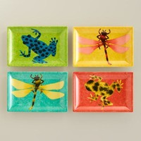 Dragonfly and Frog Appetizer Plates, Set of 4