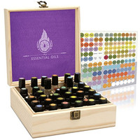 Essential Oil Box - 36 Slots. Fits Tall Roller Bottles. Natural Pine, Wooden Storage Case. Free EO Labels & Foam Pad. Best For 5ml 10ml And 15ml Drams  Earth's Gift