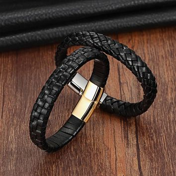 XQNI Stripe/Box Chain Silver/Gold Color Stainless Steel Genuine Leather Bracelet For Men Fashion Jewelry Birthday Party Gift