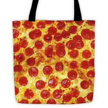 Pepperoni Pizza Print Tote Bag