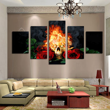 Fire skull & red rose Home Decor Wall Painting Canvas