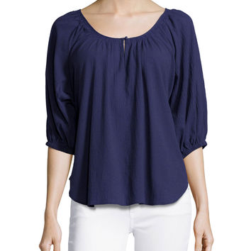 Nancy Scoop-Neck Cotton Blouse, Size: