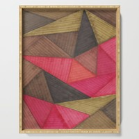 Geometric experience 01 Serving Tray by vivigonzalezart