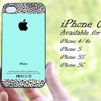 Tiffany Teal and Leopard Pattern design iphone case for iphone 4 case, iphone 4s case,iphone 5 case, iphone 5s case, iphone 5c case