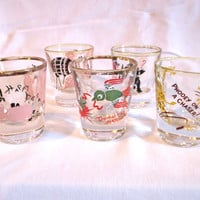 Vintage Shot Glasses 1950 Rockabilly Retro