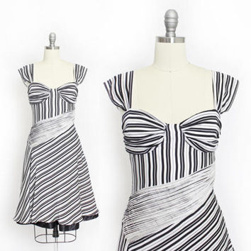 Vintage MOSCHINO Jeans Dress - 1990s Silk Black & White Stripe Pleated Designer 90s - XS Extra Small