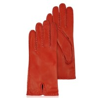 Forzieri Designer Women's Gloves Women's Stitched Cashmere Lined Red Italian Leather Gloves