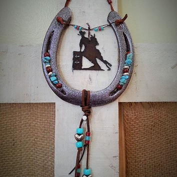 Decorated Horseshoe, Horseshoe Decor, Horseshoe Art, Gift for Horse Lover, Equestrian Gift, Barrel Racer, Western Decor, Equine Gift
