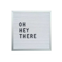 "10"" x 10"" White Letter Board Set w/ 290 Piece Letters + Numbers: Silver Aluminum Frame"