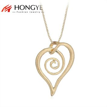 Simple Unique Alloy Silver Gold Necklace Wire Drawing Snail Heart Love Long Box Chain Necklace Jewelry Best Friend Gift Bijoux