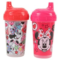 Disney Minnie Mouse Glitter Hard Spout Sippy Cups, Pink, 2 Count