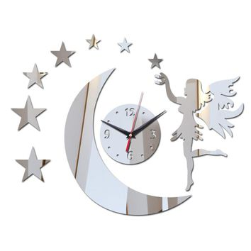 2017 new hot sale 3d acrylic wall clock promotion mirror home decoration modern design diy crystal sticker watch free shipping