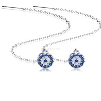 Cz Evil eye silver threader's earrings