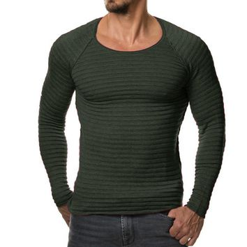 New Men Knitted Sweater / Fashionable Men Striped Sweater