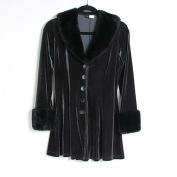90s Vintage Velvet Penny Lane Jacket - Faux Fur Cuffs and Collar - Goth Jacket - Iridescent - 90s Y2K Clothing Witchy Witch Velvet Button Up