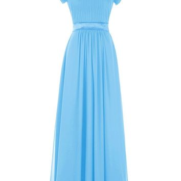 Ubridal Women's Long Pleats Chiffon Bridesmaid Dress Short Sleeve Prom Gown With Sash