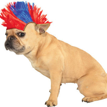 Red and Blue Mohawk Pet Wig