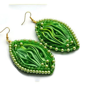 Bead embroidered earrings,Shibori silk ribbon, Beadwork seed beaded jewelry, Luxury jewelry.