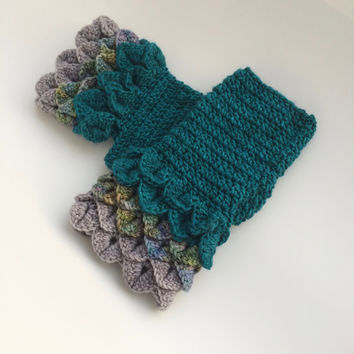 Turquoise Fingerless Mitts - Turquoise Dragon Scale Mitts - Turquoise Grey Fingerless Mitts - Mermaid Scale Mitts - Rainbow Fingerless Mitts