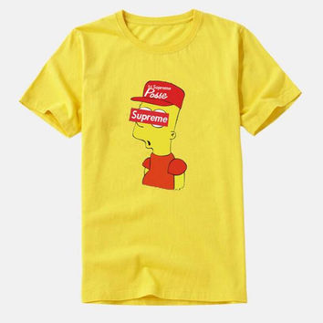 "Fashion "" supreme"" print Creative loose T-shirt top yellow"