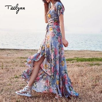 TEELYNN Boho maxi Dresses Vintage Floral print irregular hem summer dresses short sleeve Hippie Women dress party Vestidos