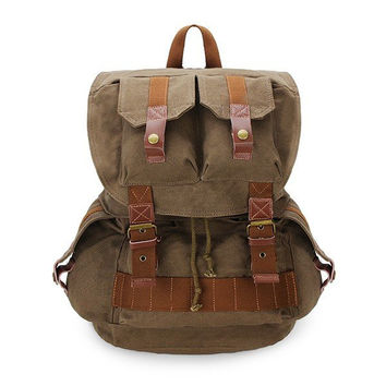 Men Canvas Outdoor Travel Camera Bag Vintage Casaul Backpack