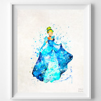 Cinderella Print, Cinderella Watercolor Art, Type 4, Disney Poster, Wall Decor, Bedroom Art, Holiday Gift, Art Print, Halloween Decor