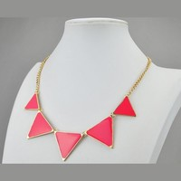 Blue Necklace, Triangle Necklace, Bib Necklace, Statement Necklace (Fn0568 - Royal Blue) (C)