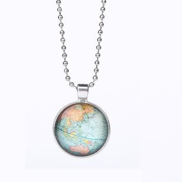 Earth World Map Pendant Necklace For Women