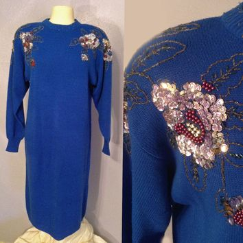 Blingy Blue Floral Sequin Sweater Dress by Larisa, 1980's