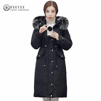 Winter Jacket Women 2017 Raccoon Fur Collar Hooded White Duck Down Coat Thicken Warm Military Parka Long Puffer Outwear Okb136