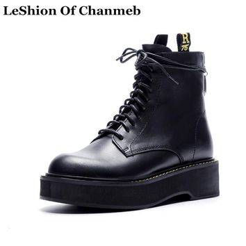 Real Leather Dr Martins Boots Women Lace Up Matte Leather Martens Boots Platforms Fall Shoes Female Riding Motorcycle Boots 2019
