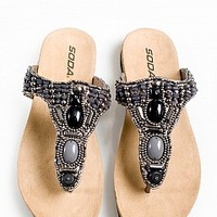 ROLINE-S-03-15 Beaded Flip Flop Thong Sandals Women Sandals PEWTER Bare Feet Shoes