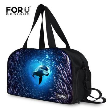 Large Capacity Men Luggage Travel Bag Shark Dolphin Weekend Bags Men Shoulder Duffle Bag Business Travel Carry On Luggage Tote