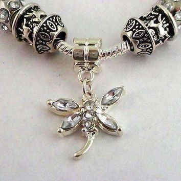 Crystal Dragonfly with Multifaceted Beads European Style 925 Silver Charm Bracelet