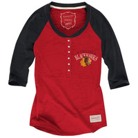 Mitchell & Ness Chicago Blackhawks Ladies Three Quarter Sleeve Henley T-Shirt - Red/Black