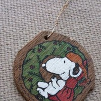 1958 Vintage Santa Snoopy wood painted Christmas Ornament United Features Syndic