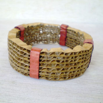 Recycled Cardboard Bracelet Paper Jewelry Large Bangle Bracelet Eco Friendly Ready to Ship / Χειροπέδα από Χαρτόκουτα