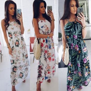 Women Fashion Floral Sleeveless Spaghetti Strap Dress Summer Lad 7ccfbd327f35
