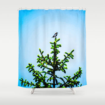 Cow Head Shower Curtain by Faded  Photos