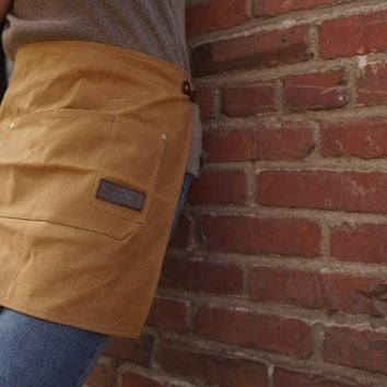 Waist Apron - 14oz Waxed Canvas with Genuine Leather Straps