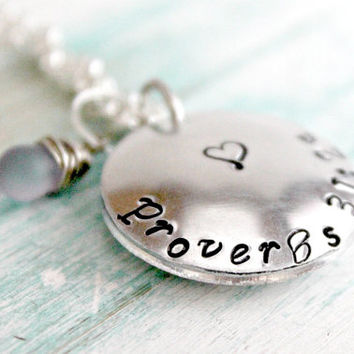 """Proverbs 31 10 Hand Made Locket, Cupped Disk Locket, Bible Verse Jewelry, """"worth far above rubies"""" Hand Stamped Necklace"""